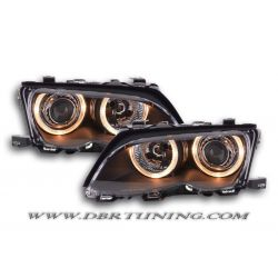 Fari Angel Eyes BMW 3 4porte E46 01-04 neri