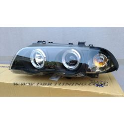 Coppia fari Angel Eyes BMW 3 4porte E46 98-01 neri