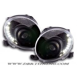 Gruppi ottici Angel eyes + Led Fiat 500 07 neri