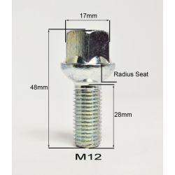 Bolt S17A28 BIMEC M12X1,50 L28 CH17 SPHERIC