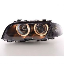 Coppia fari Angel Eyes BMW 3 4porte E46 98-01 nero