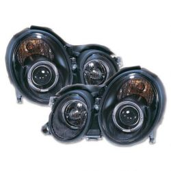 Coppia fari Angel Eyes MERCEDES CLK W208 97-02 neri
